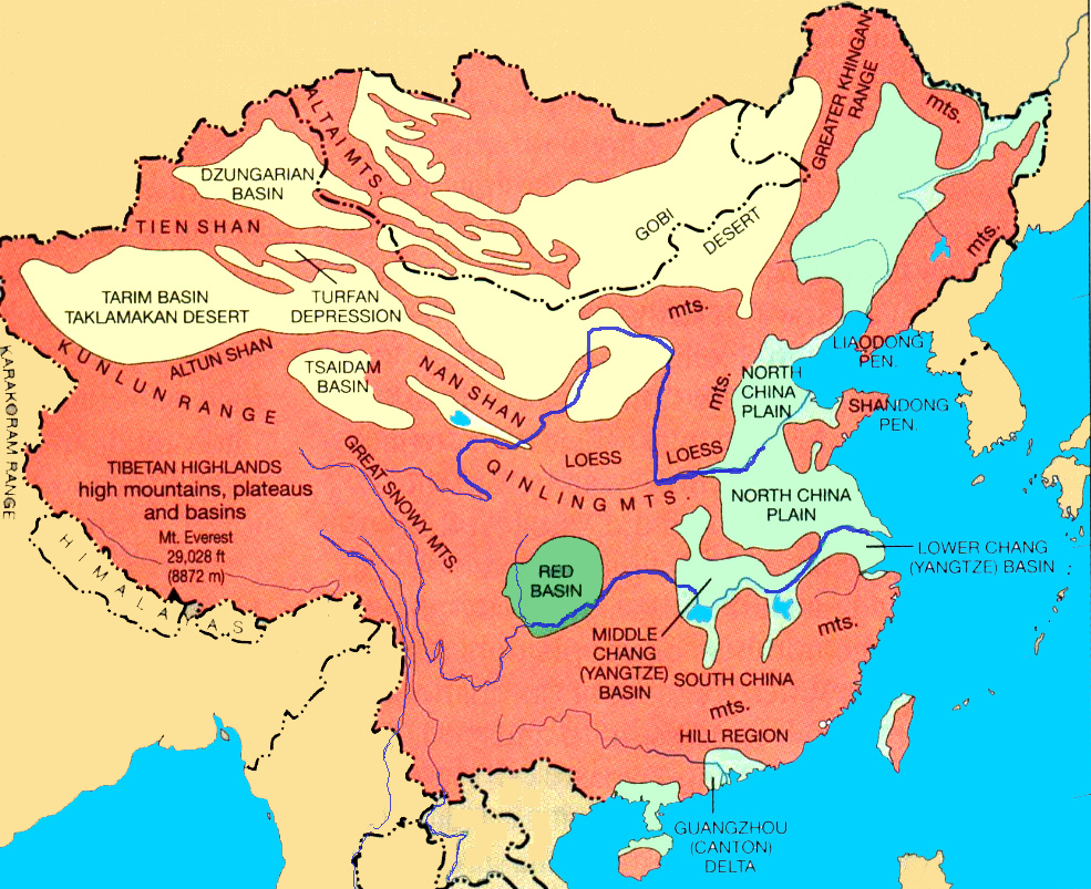 Regions Of China Map.Physical Regions And Provinces Of China