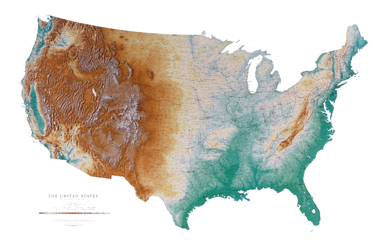 Large map of the USA showing natural features