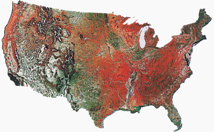 Maps of the United States that contrasts east from west and